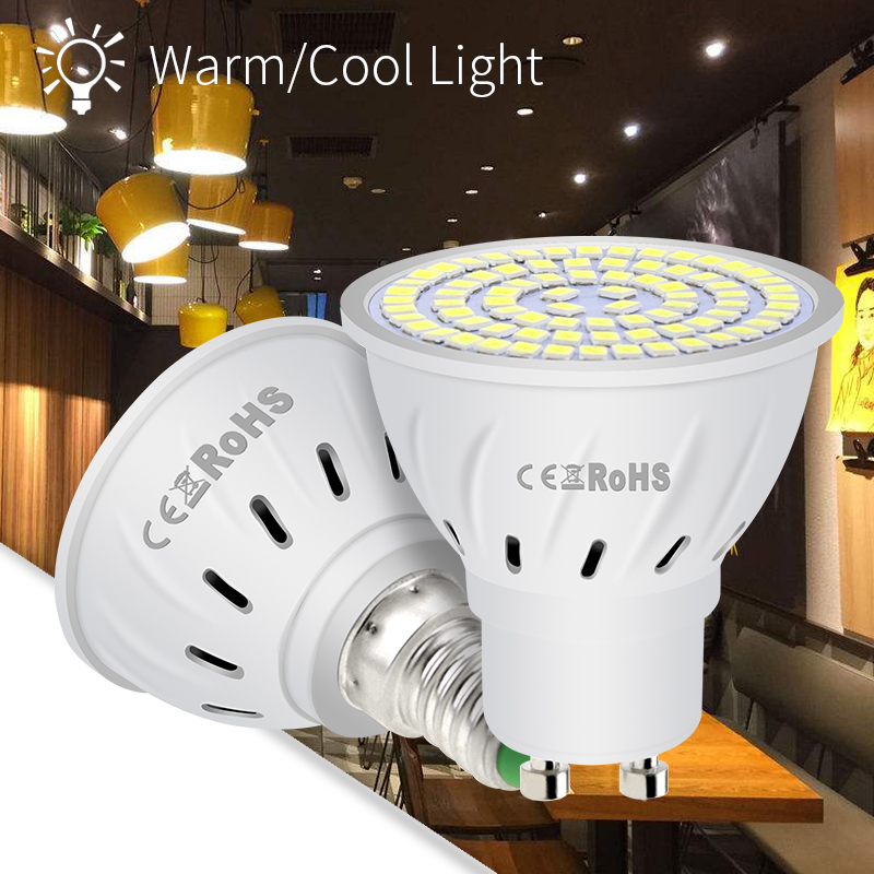 Купить с кэшбэком 6PCS GU10 LED Bulb 220V Lamp E14 Spotlight E27 Spot Light Bulb SMD2835 Corn Lamp MR16 Bombilla gu 10 Led Ampul B22 Home Lighting