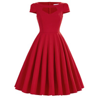Vintage Style RED Retro 50S 60S Swing Dresses Solid Color Hollowed Front Pin Up Dancing Vestidos