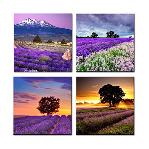4 Piece Elegant Purple Lavender Flower Painting Canvas Art Print on Canvas for Study <font><b>Bed</b></font> Room Living Room Wall Decor Framed