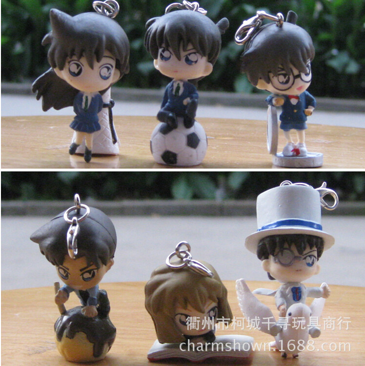 6 teile/satz Detektiv Conan Mouri Lief Mini Keychain Action-figuren Anime PVC brinquedos...