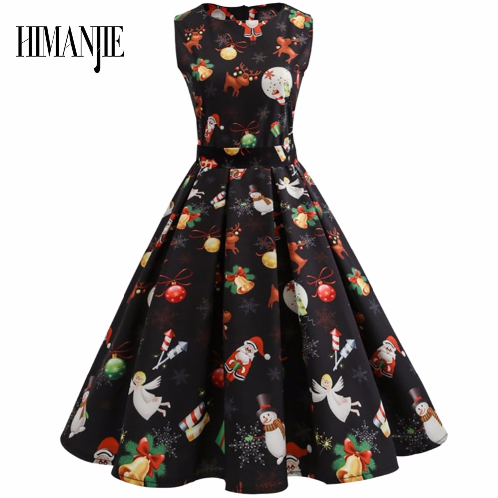 2017 Christmas Dress Black Women Newly Girls Santa Red Christmas Pattern Print Slim Waist Big Flared