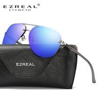 EZREAL Mannen HD Gepolariseerde Zonnebril Klassieke Mannen Vrouwen Retro Klinknagel Shades Brand Designer zonnebril Mannen UV400 # EZ143