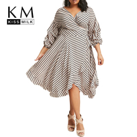 Kissmilk Plus Size 2018 New Fashion Women Summer Striped Lantern Sleeve V Neck Ruffles Wrap Mid Calf A Line Dress