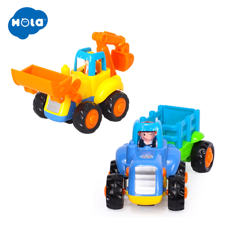 HOLA 326A+326B Cartoon Child Bulldozers Machine Toy Car Model Children's Toys Educational Toys Creative Engineering Vehicles