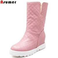 New Arrive Youth Fashion Height Increasing Mid Calf Boots For Women High Quality Pu Soft Leather