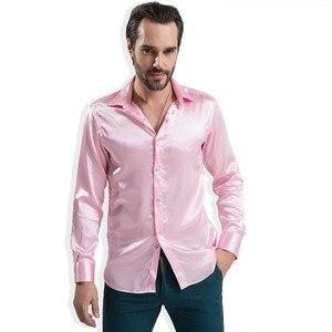 Image 3 - 2020 موضة الساتان اللامع النمط البريطاني فستان قميص الحرير الفاخرة مثل ملابس رجالية بكم طويل قميص غير رسمي أداء الملابس ارتداء الذكور