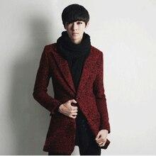 2013 Зимний мужской Британский стиль Тонкий толстые шерстяные пальто средней длины одной кнопки досуг шерстяной жакет мужской черный/красный/серый H1932