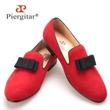 Piergitar/Новые Бархатные мужские туфли с бантом красного или черного цвета мужская обувь на плоской подошве мужские лоферы F or Бесплатная доставка
