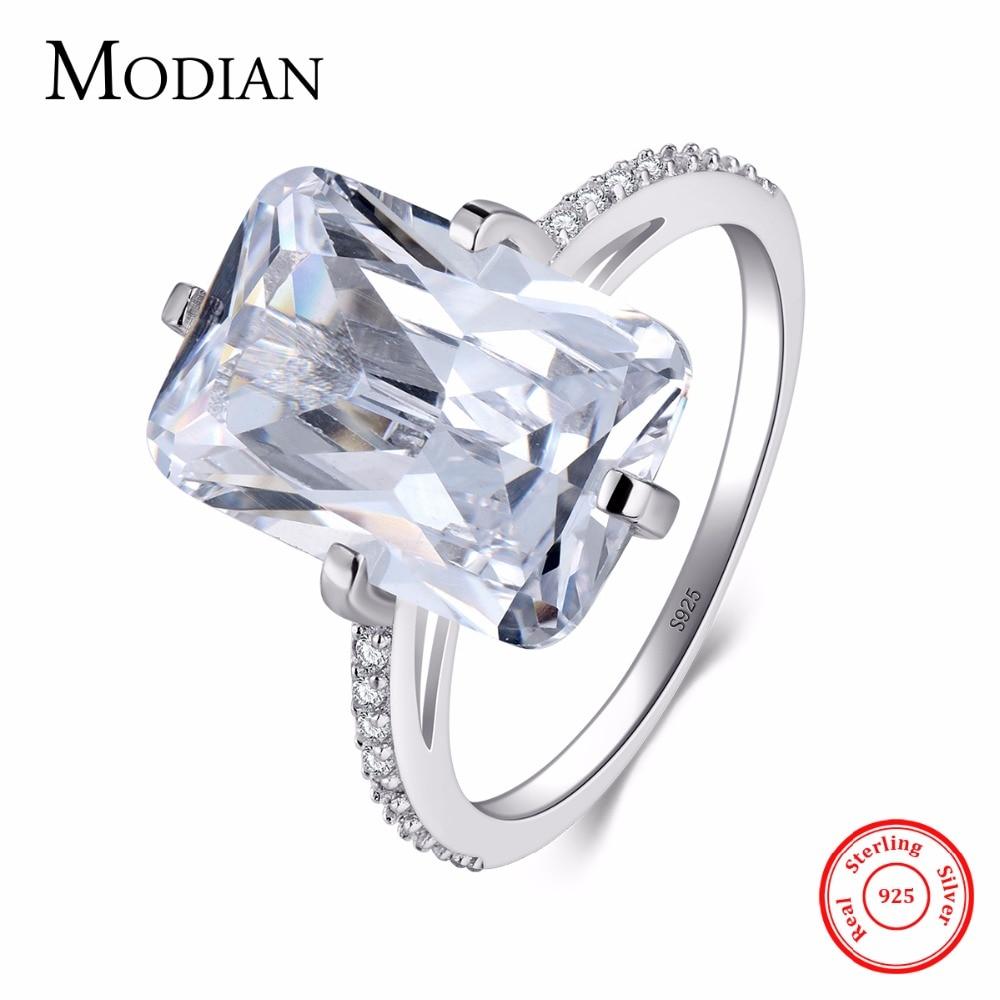 Modian 100% 925 Sterling Silver Rettangolo 5A Chiaro Zircone Brillante Anello di Nozze di Fidanzamento Dito Anelli di Modo Dei Monili Per Le Donne