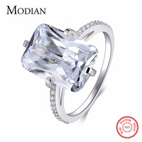 Modian 100 925 Sterling Silver Rectangle 5A Clear Zircon Shining Ring Wedding Engagement Finger Jewelry For