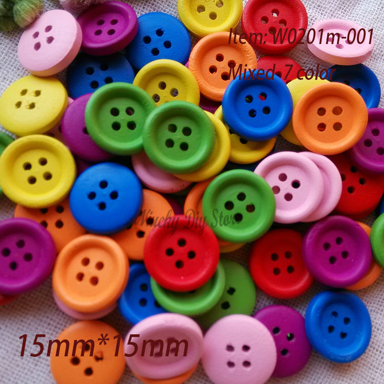20 Mixte en Bois Coloré Football Boutons 20mm couture la carte,