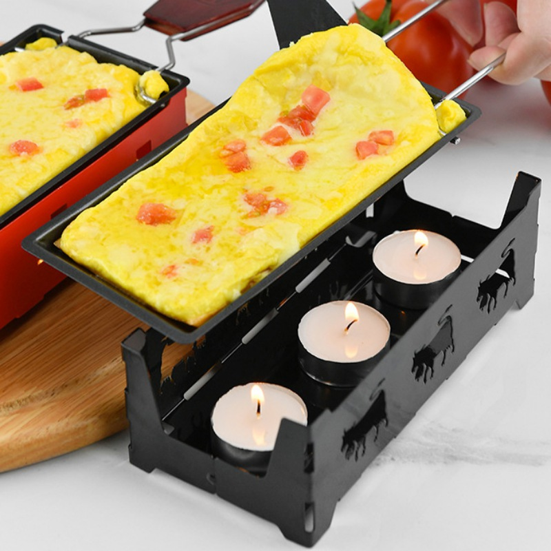 New Non-Stick Metal Cheese Raclette Baking Pan Oven Grill Plate Rotaster Baking Tray Stove Frame Spatula Set Kitchen Baking Tool