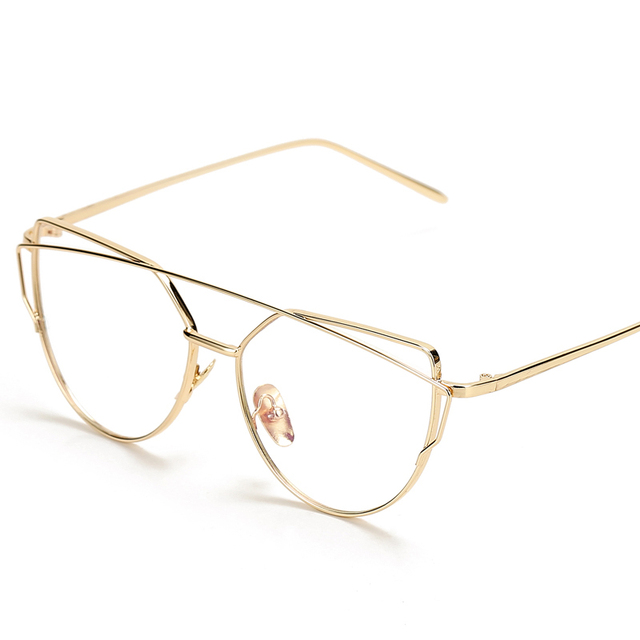 fashion spectacle gold frames eye clear lens glasses frame women optical cat eye glasses eyewear eyeglasses