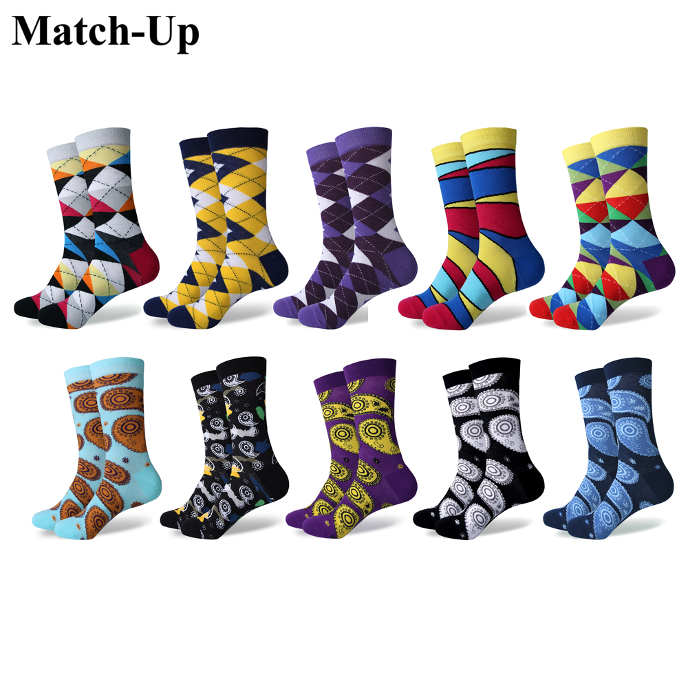 Match-Up Mens Funny Casual Combed Cotton Novelty Crazy Socks Pack (10 Pairs/lot)