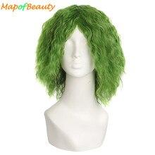 MapofBeauty парик для косплея кудрявые волосы зеленый костюм для Хэллоуина вечерние термостойкие синтетические волосы Выделите Бэтмен шутка парики