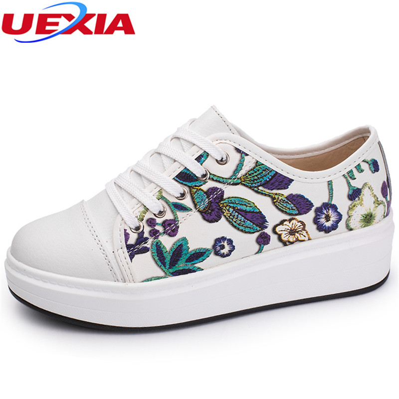 UEXIA New Flats Platform Loafers Ladies Elegant Blue Flower Increase Moccasins Shoes Woman Slip On Moccasin Women's Casual Shoes pinsen women flat platform shoes woman moccasin zapatos mujer platform sandals slip on for ladies shoes casual flats moccasins