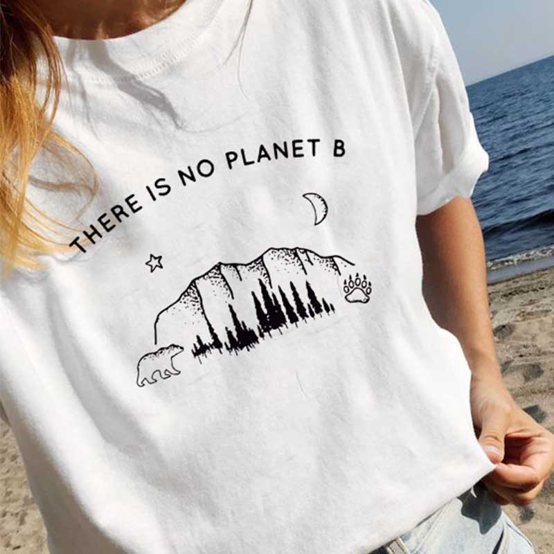 Cncool <font><b>There</b></font> <font><b>Is</b></font> <font><b>No</b></font> <font><b>Planet</b></font> <font><b>B</b></font> Letter Print <font><b>TShirt</b></font> Summer Harajuku Funny Shirt Outdoor Women Casual Tees Short Sleeve Street Style image