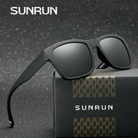SUNRUN Classic Luxury Squared Men Polarized Sunglasses Brand Wrap Around TR90 Frame Multiple Color Eyewear Oculos