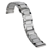 Silver And White Stainless Steel Ceramics Luxury Bracelet Replacement 2 Spring Bars Wrist Band Strap 18