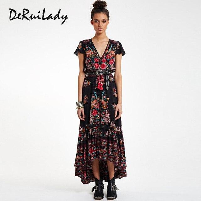 a9015a50f88 DeRuiLaDy Women Summer Boho Beach Maxi Dress 2018 New Sexy V Neck Vintage  Print Long Dresses