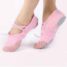 2018 Hot Child Ballet Pointe Dance Shoes Girls Professional Ballet Dance Shoes With Ribbons Shoes Woman Soft Dance Shoes Girls cheap hengsong Women Soft Sole Elastic band None Soft Ballet Shoes Flat (0 to 1 2 ) Square heel Canvas Medium(B M) Fits true to size take your normal size