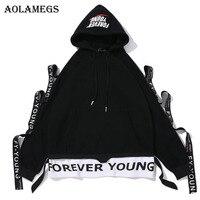 Aolamegs Hoodies Men Fake 2 Pieces Plus Velvet Hooded High Street Pullover Sweatshirt Men Fashion Hip Hop Streetwear Hoodie