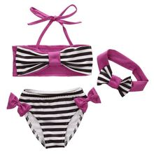 Bikini Kids Baby Girl Summer Bikini Suit Striped Bow Children Summer Swimwear Cute Girl New Swimsuit Summer Beach Clothes