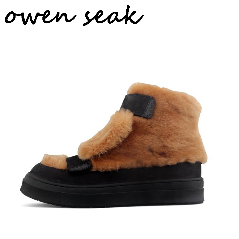 Owen Seak Men Fur Boots Ankle Luxury Trainers Genuine Leather Riding Winter Snow Boots Casual Flats