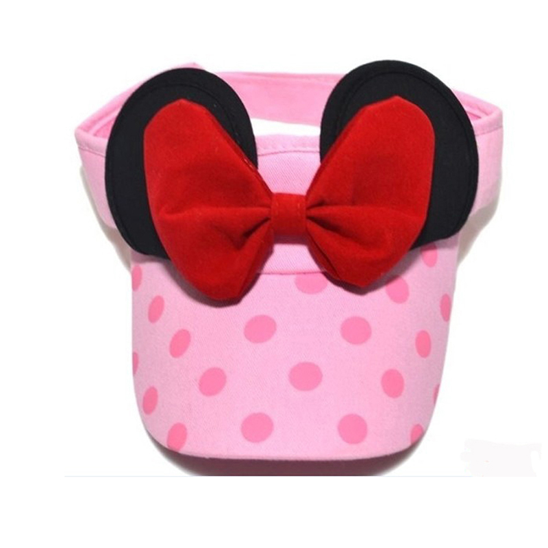 New Fashion Cartoon Mouse Cute Baby Girls Wave Point Big Bowknot Children Summer Sunshade Empty Sun Hat LB