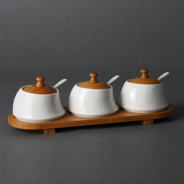 simple artistic decorative ceramic spice tools with wooden lid for