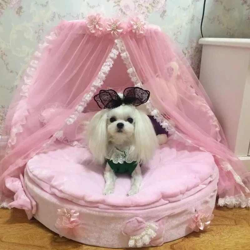 เตียงสุนัขสุดหรูสุนัข kennels เตียงเจ้าหญิงน่ารักสุนัขสัตว์เลี้ยงแมวเตียงโซฟาบ้านตุ๊กตาผ้าลูกไม้สัตว์เลี้ยงเตียง
