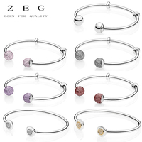 ZEG High Quality 100% Sliver Official Copy 1:1 Pan Bracelets Have Logo Women Fashion Jewerly Free Mail