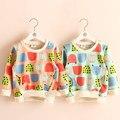 Bebés del otoño del resorte de los niños de dibujos animados dibujo fruta niñas ropa para niños prendas de vestir exteriores ocasional camisas y sudaderas