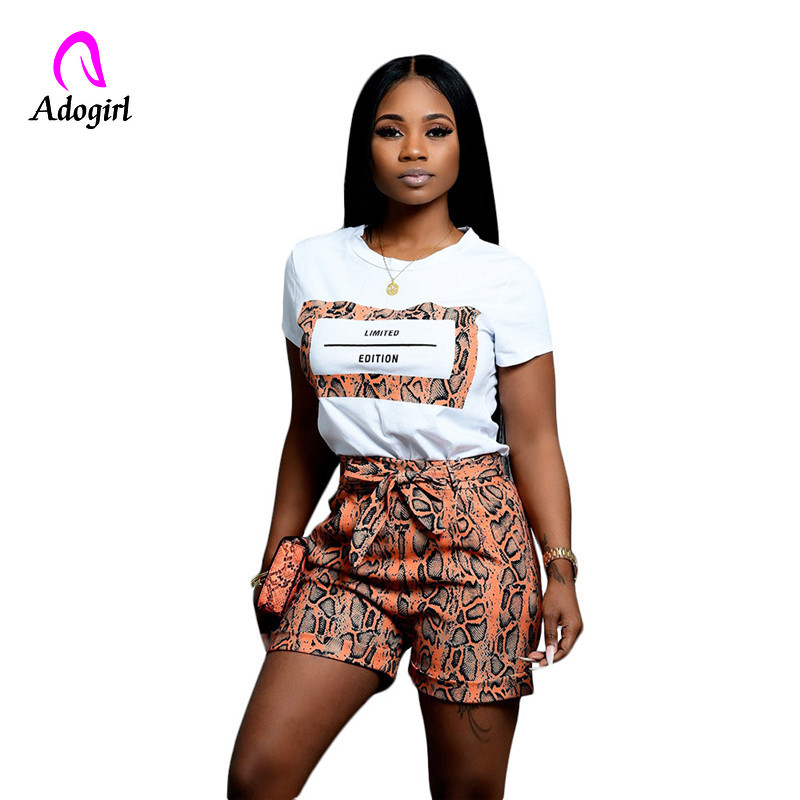 Adogirl Snakeskin 2 Piece Set Letter Print Casual O Neck Short Sleeve Women White T Shirt Top Bow Waist Shorts Fashion Outfits