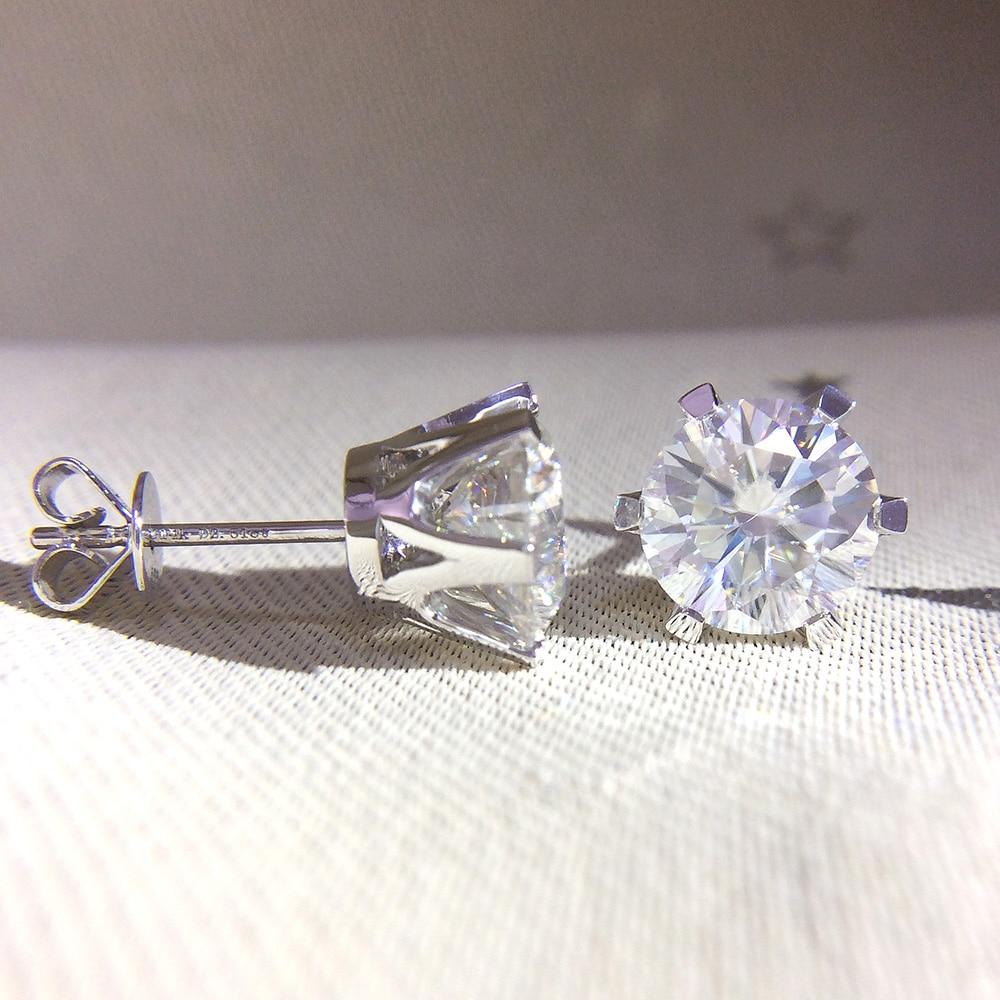 AEAW 14K 585 White Gold 0 6ctw 4mm Lab Created Moissanite Diamond Stud Earrings Push Back
