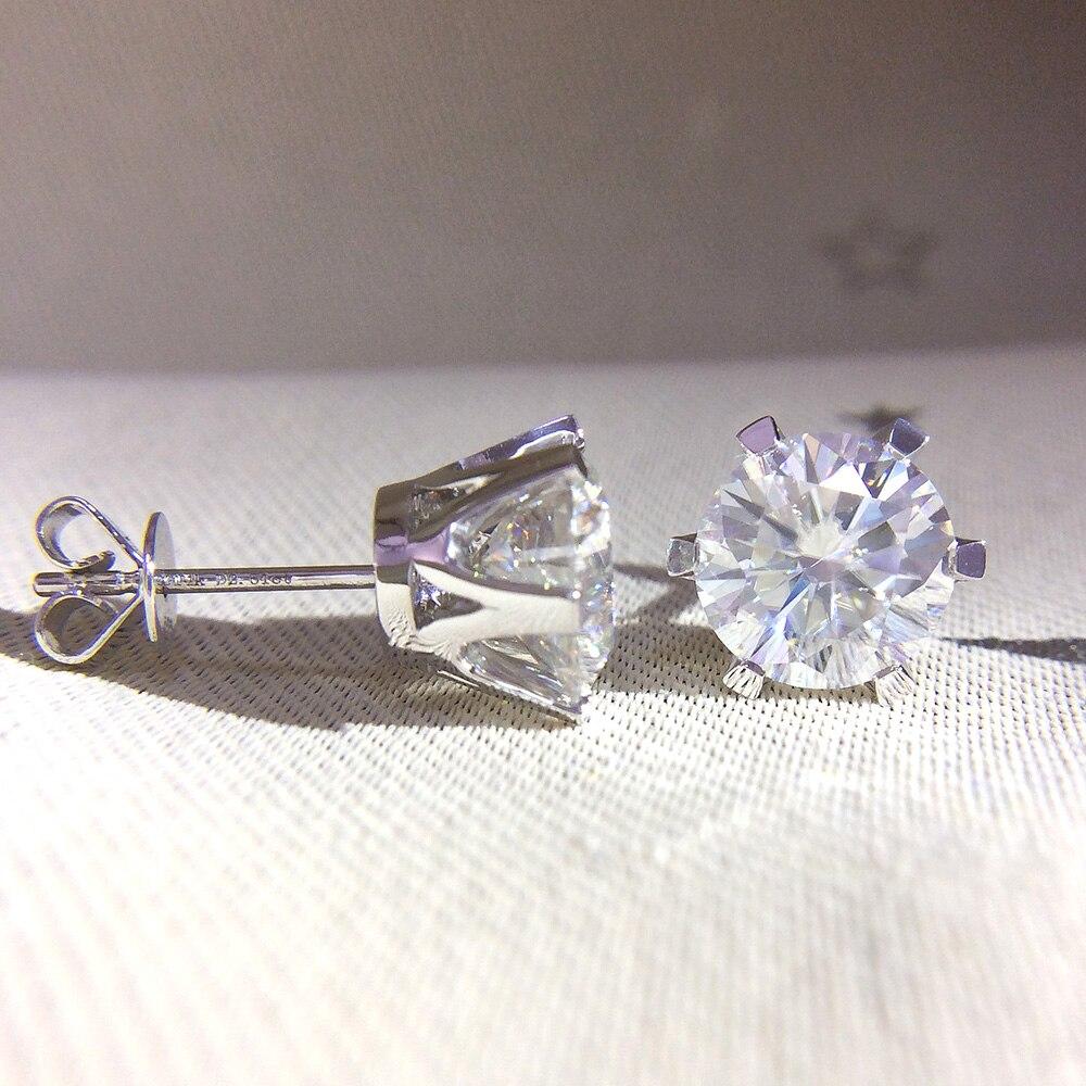 Aeaw 14 k 585 화이트 골드 0.6ctw 4mm 실험실 만든 moissanite 다이아몬드 스터드 귀걸이 여성을위한 뒤로 밀어 생일 선물-에서귀걸이부터 쥬얼리 및 액세서리 의  그룹 1
