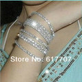 Minmin Free Shipping Sparkling Layered Crystal Bead Silver Bracelets & Bangles Fashion Jewelry Bracelet for Women Party SL006