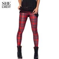 ZAPUYO Women high elastic large size S- 4XL Red stripe leggings mid waist slim skinny casual capris ankle length trousers