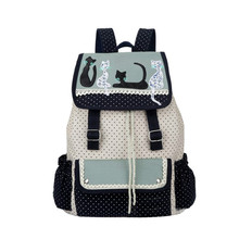 New Trend Cat Party School Backpack Large Capacity Canvas Double Shoulder Bags Fashion Women's Travel Bags
