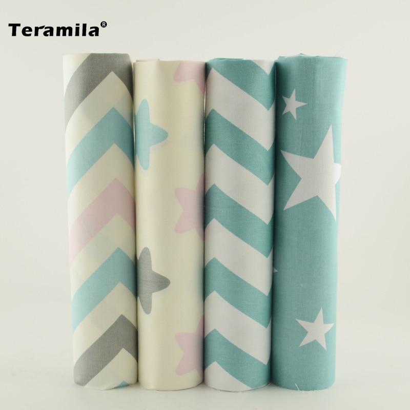 Teramila 4pcs / lot 40cm * 50cm 별 및 파도 패치 워크 다른 바느질 프로젝트에 퀼트 미터 인쇄 된 코 튼 원단 조직