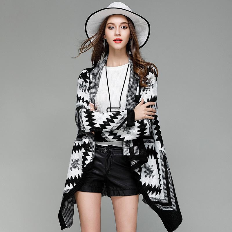 Fall Winter Knitted Middle Long Vintage Aztec Cardigan Shrugs for Women Cute Ladies High Low Asymmetrical