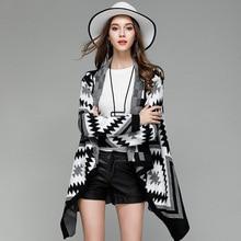 Осенне-зимний вязаный Средний длинный винтажный ацтекский кардиган Болеро для женщин милый Дамский скошенный сверху вниз, асимметричный пончо свитер пальто
