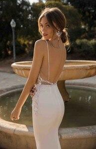 Image 3 - LORIE vestidos de novia de sirena, sexys, tirantes finos, apliques de encaje, playa, Espalda descubierta, vestido de novia bohemio 2020