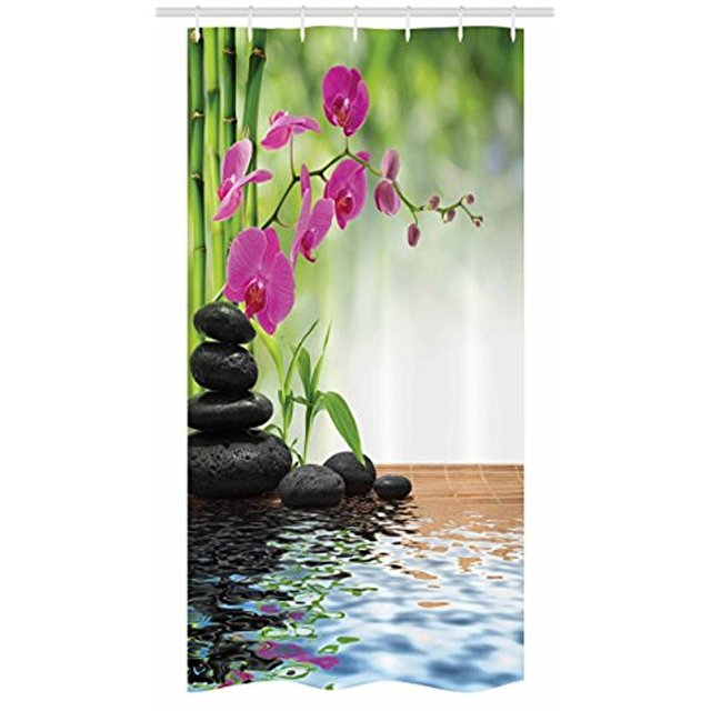 Vixm Spa Decor Stall Shower Curtain Composition Bamboo Tree Floor Mat Orchid Stones Yoga Greenery Fabric
