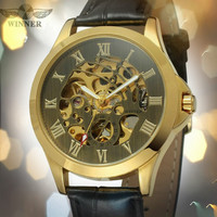 T WINNER 2018 New Style High Quality Automatic Leather Hollow Original Roman Numbers Wristwatch Antique Brass Color Watches