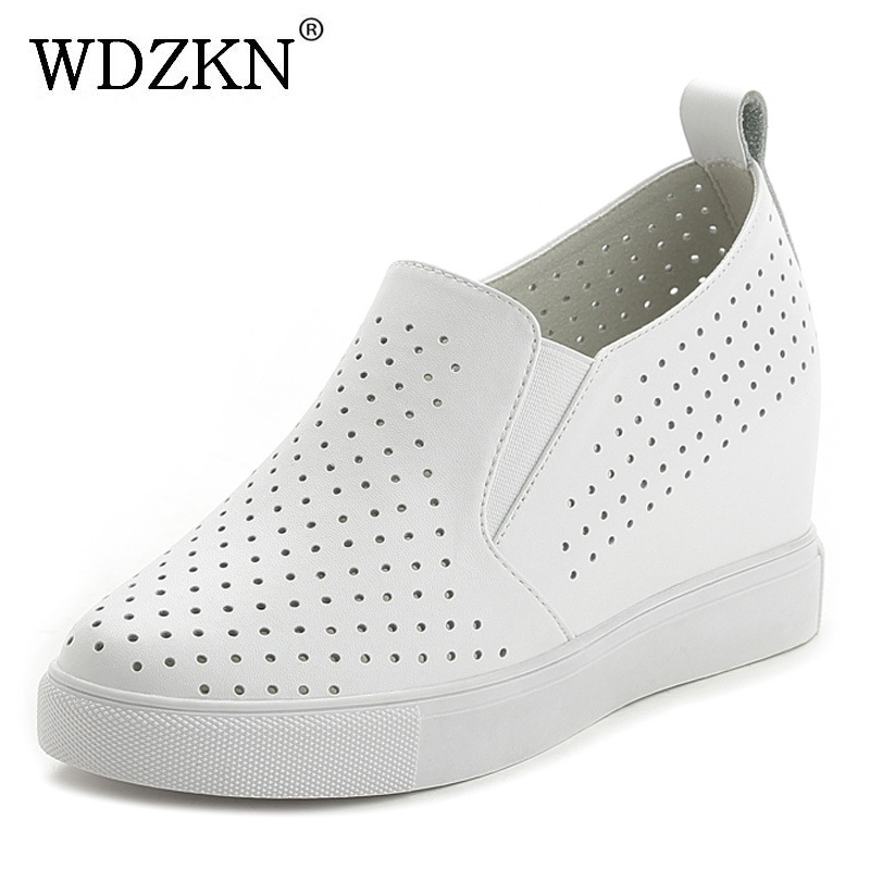 WDZKN Spring Summer Breathable Genuine Leather Women Shoes Slip On High Heels Round Toe Height Increasing Women Casual Shoes 2017 shoes women med heels tassel slip on women pumps solid round toe high quality loafers preppy style lady casual shoes 17