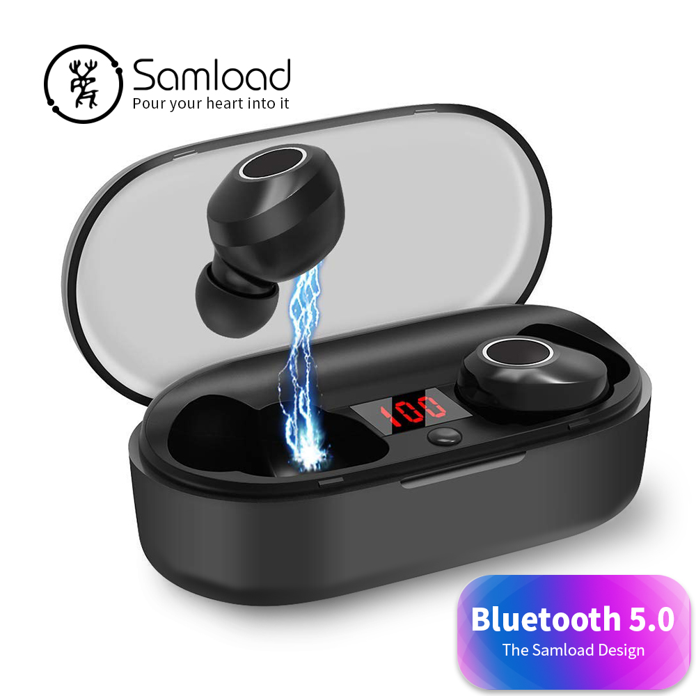 $34.48 Samload Bluetooth 5.0 Headphones 4D Deep bass Wireless Earphones Cordless Headset with Charging Box For iPhone 7 8 X Sony Xiaomi