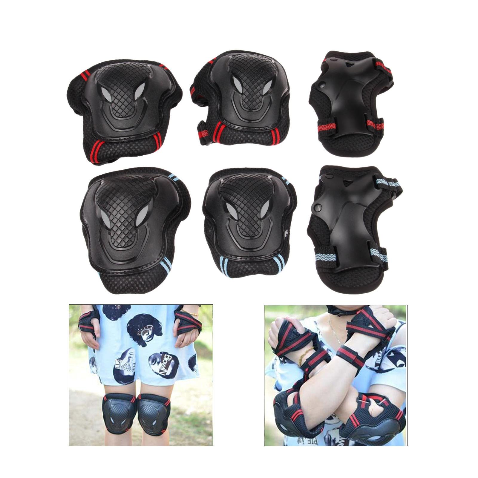 Roller Skates Skateboarding Skiing Wrist Knee Elbow Protector Set Adult Kids KneePads Protection 6 in1 Set Sports Safety Guard