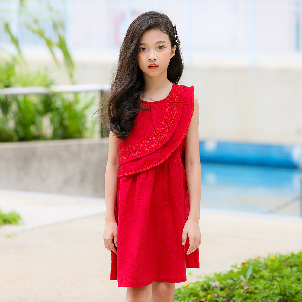 Red Dress for Little Girls Sleeveless Embroidery Cotton ... Red Dresses For Girls Age 9
