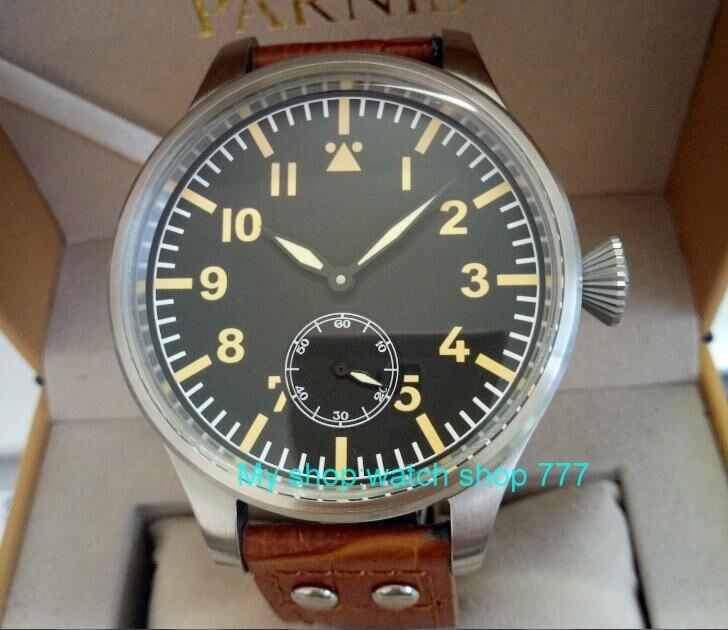55mm très grand cadran PARNIS asiatique 6498 mécanique main vent mouvement mécanique hommes montres montres mécaniques 432